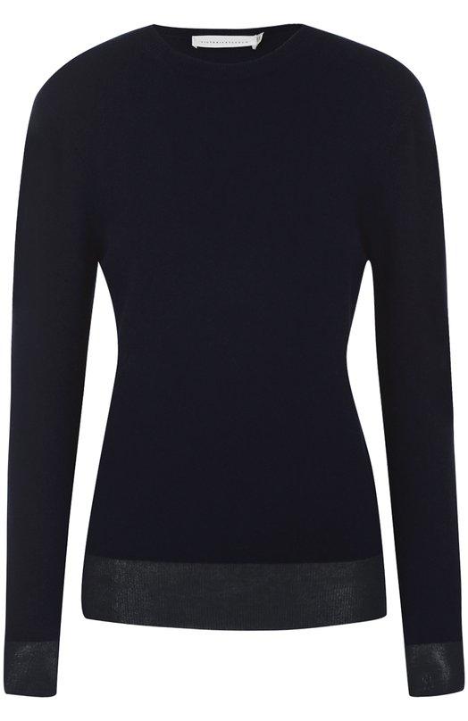 Кашемировый пуловер с круглым вырезом Victoria BeckhamСвитеры<br><br><br>Российский размер RU: 40<br>Пол: Женский<br>Возраст: Взрослый<br>Размер производителя vendor: 1<br>Материал: Кашемир: 90%; Шелк: 10%;<br>Цвет: Темно-синий