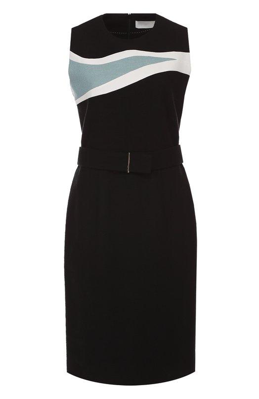 Платье без рукавов с контрастной отделкой и поясом HUGOПлатья<br><br><br>Российский размер RU: 46<br>Пол: Женский<br>Возраст: Взрослый<br>Размер производителя vendor: 38<br>Материал: Хлопок: 98%; Эластан: 2%;<br>Цвет: Черный