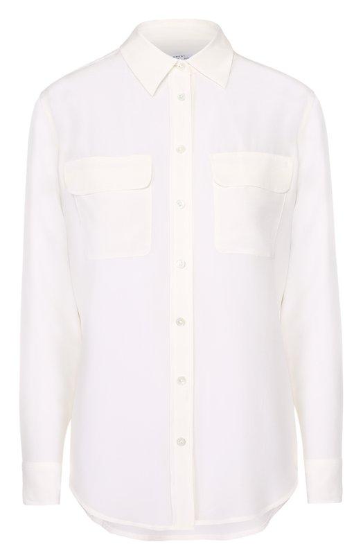 Шелковая блуза прямого кроя с накладными карманами EquipmentБлузы<br><br><br>Российский размер RU: 44<br>Пол: Женский<br>Возраст: Взрослый<br>Размер производителя vendor: M<br>Материал: Шелк: 100%;<br>Цвет: Белый