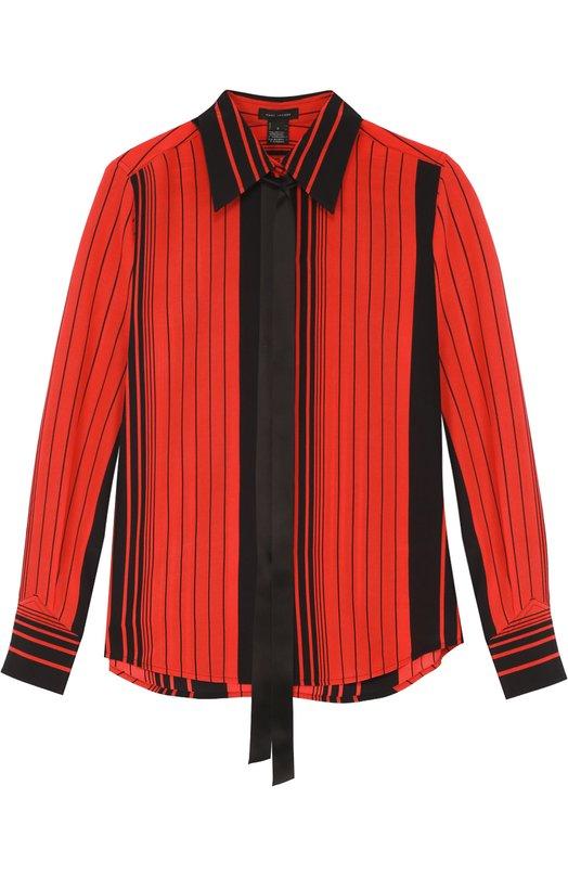 Шелковая блуза в контрастную полоску с воротником аскот Marc JacobsБлузы<br><br><br>Российский размер RU: 40<br>Пол: Женский<br>Возраст: Взрослый<br>Размер производителя vendor: 2<br>Материал: Шелк: 100%;<br>Цвет: Красный