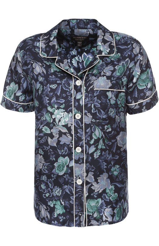 Шелковая блуза в пижамном стиле с цветочным принтом Burberry 4545457