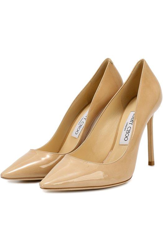 Лаковые туфли Romy 100 на шпильке Jimmy Choo, R0MY 100/PAT, Италия, Бежевый, кожа: 100%; Кожа: 100%; Кожа натуральная: 100%; Низ-кожа: 100%; Подкладка-кожа: 100%; Подошва-кожа: 100%; Стелька-кожа: 100%;  - купить