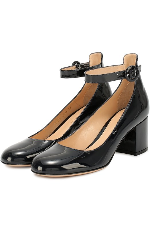 Лаковые туфли Greta с ремешком на щиколотке Gianvito RossiТуфли<br>Темно-синие туфли Greta вошли в коллекцию сезона осень-зима 2016 года. Модель с круглым мысом сшита из гладкой лакированной кожи. Джанвито Росси дополнил обувь устойчивым каблуком средней высоты, обтянутым таким же материалом. На щиколотке – тонкий ремешок с круглой пряжкой.<br><br>Российский размер RU: 35<br>Пол: Женский<br>Возраст: Взрослый<br>Размер производителя vendor: 35<br>Материал: Кожа натуральная: 100%; Стелька-кожа: 100%; Подошва-кожа: 100%;<br>Цвет: Темно-синий
