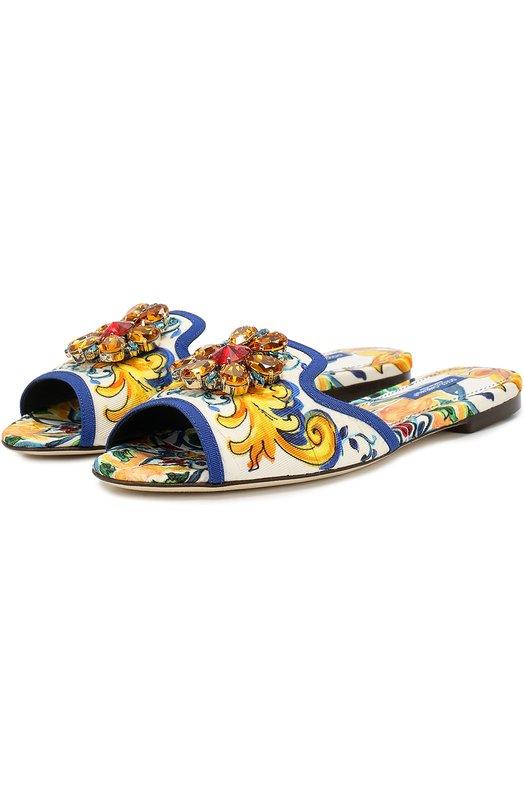 Текстильные шлепанцы Bianca с кристаллами Dolce & Gabbana 0112/CQ0023/AD610