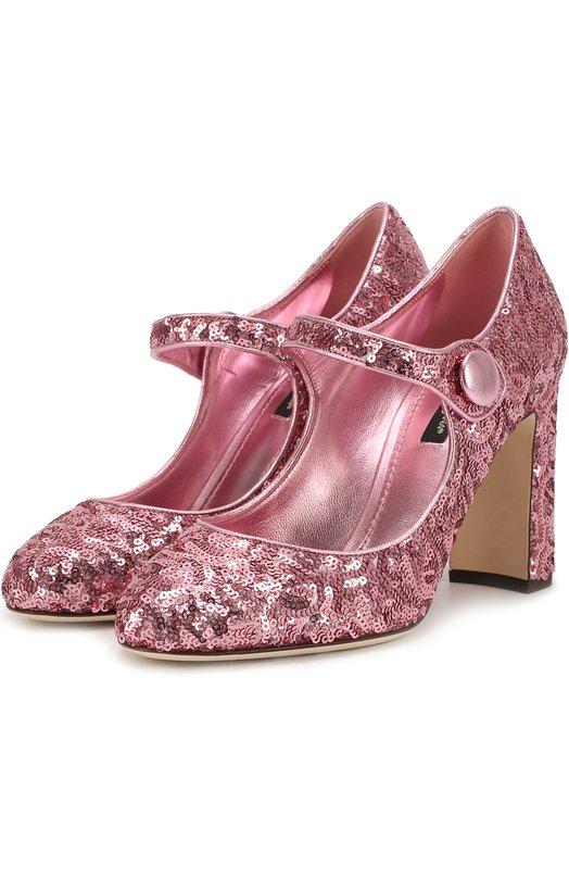 Туфли Vally с пайетками Dolce &amp; GabbanaТуфли<br>Розовые туфли Vally на устойчивом каблуке средней высоты вошли в осенне-зимнюю коллекцию 2016 года. Доменико Дольче и Стефано Габбана выбрали для создания модели mary jane текстиль, расшитый миниатюрными пайетками. Внутри и по краю — отделка из гладкой металлизированной кожи в тон.<br><br>Российский размер RU: 37<br>Пол: Женский<br>Возраст: Взрослый<br>Размер производителя vendor: 37-5<br>Материал: Полиэстер: 74%; Кожа натуральная: 26%; Стелька-кожа: 100%; Подошва-кожа: 100%;<br>Цвет: Розовый