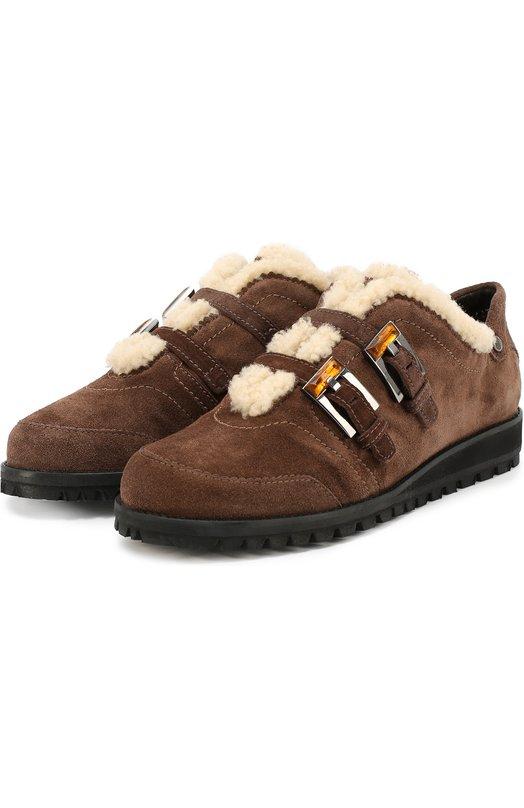 Замшевые ботинки с декорированными ремешками Stuart Weitzman SM0KING/VEL0UR
