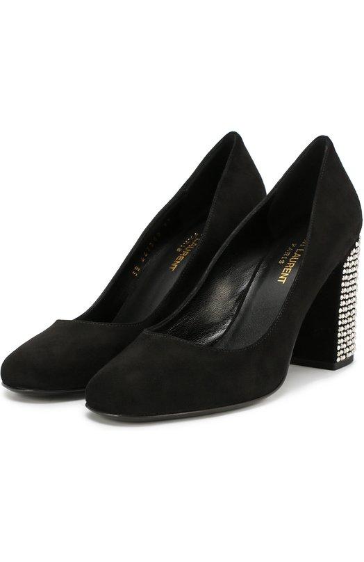 Замшевые туфли Babies на каблуке с декором Saint Laurent 447350/C2000