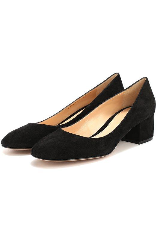 Купить Замшевые туфли на низком каблуке Gianvito Rossi, G20084.45RIC.CAM, Италия, Черный, Стелька-кожа: 100%; Подошва-кожа: 100%; Замша натуральная: 100%;