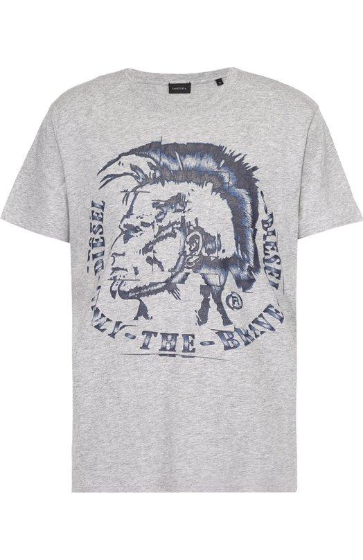 Хлопковая футболка с принтом DieselФутболки<br><br><br>Российский размер RU: 50<br>Пол: Мужской<br>Возраст: Взрослый<br>Размер производителя vendor: L<br>Материал: Хлопок: 100%;<br>Цвет: Серый