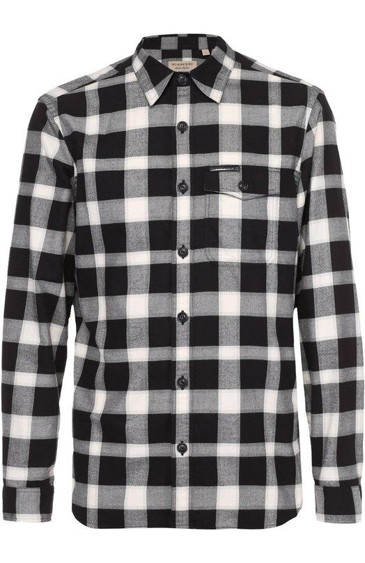 Хлопковая рубашка с воротником кент Burberry BritРубашки<br><br><br>Российский размер RU: 50<br>Пол: Мужской<br>Возраст: Взрослый<br>Размер производителя vendor: L<br>Материал: Хлопок: 100%;<br>Цвет: Черно-белый