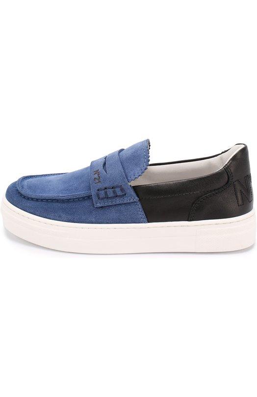 Комбинированные слипоны с перемычкой No. 21Спортивная обувь<br><br><br>Российский размер RU: 31<br>Пол: Мужской<br>Возраст: Детский<br>Размер производителя vendor: 31<br>Материал: Кожа натуральная: 100%; Стелька-кожа: 100%; Подошва-резина: 100%; Замша натуральная: 100%;<br>Цвет: Разноцветный