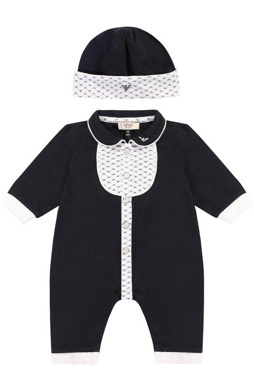 Комплект из хлопковой пижамы и шапки Giorgio ArmaniОдежда<br><br><br>Размер Months: 6<br>Пол: Женский<br>Возраст: Для малышей<br>Размер производителя vendor: 68-74cm<br>Материал: Хлопок: 100%;<br>Цвет: Темно-синий