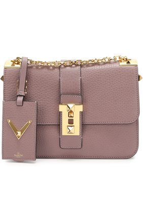 Сумка Glam Lock medium на цепочке Valentino фиолетовая | Фото №1