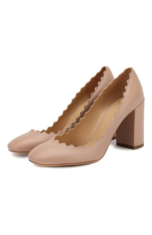 Купить Кожаные туфли Lauren с фигурным вырезом Chloé, CH26231/E75, Италия, Бежевый, Кожа натуральная: 100%; Стелька-кожа: 100%; Подошва-кожа: 100%;