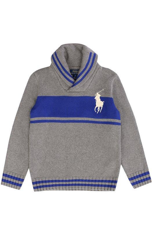 Хлопковый свитер с шалевым воротником Polo Ralph LaurenСвитеры<br><br><br>Размер Years: 5<br>Пол: Мужской<br>Возраст: Детский<br>Размер производителя vendor: 110-116cm<br>Материал: Хлопок: 100%;<br>Цвет: Серый