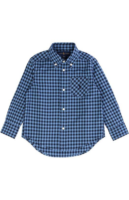 Хлопковая рубашка в клетку с воротником button down Polo Ralph LaurenРубашки<br><br><br>Размер Years: 3<br>Пол: Мужской<br>Возраст: Детский<br>Размер производителя vendor: 98-104cm<br>Материал: Хлопок: 100%;<br>Цвет: Голубой