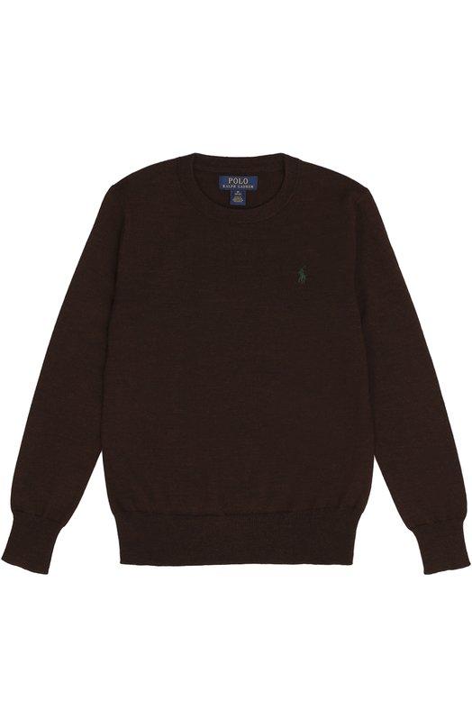 Шерстяной джемпер с логотипом бренда Polo Ralph LaurenСвитеры<br><br><br>Размер Years: 10<br>Пол: Мужской<br>Возраст: Детский<br>Размер производителя vendor: 138-148cm<br>Материал: Шерсть: 100%;<br>Цвет: Коричневый