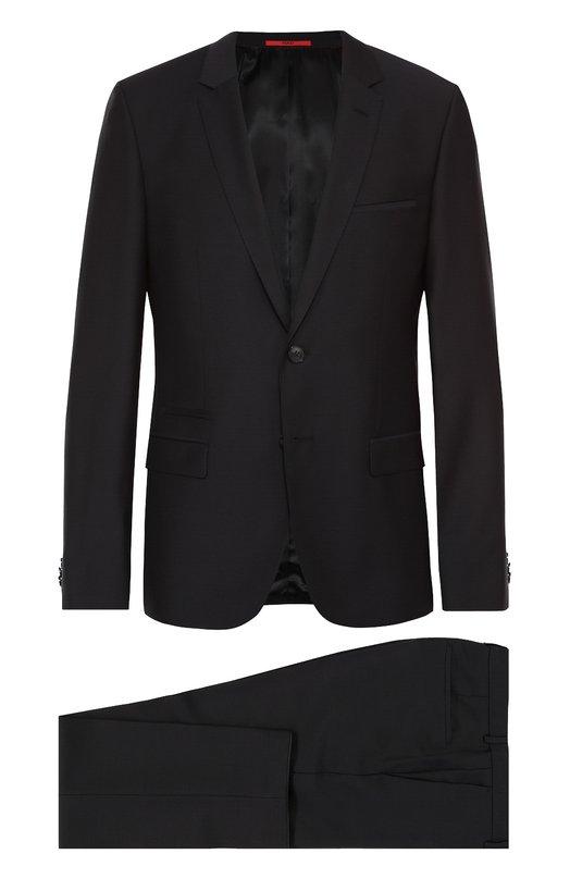 Шерстяной приталенный костюм HUGOКостюмы<br><br><br>Российский размер RU: 46<br>Пол: Мужской<br>Возраст: Взрослый<br>Размер производителя vendor: 44<br>Материал: Шерсть: 100%;<br>Цвет: Темно-синий