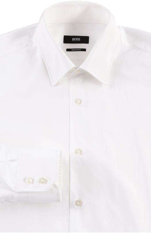 Хлопковая сорочка с воротником кент BOSSРубашки<br><br><br>Российский размер RU: 39<br>Пол: Мужской<br>Возраст: Взрослый<br>Размер производителя vendor: 39<br>Материал: Хлопок: 100%;<br>Цвет: Белый