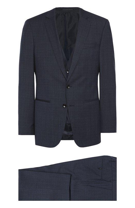 Шерстяной костюм-тройка BOSSКостюмы<br><br><br>Российский размер RU: 48<br>Пол: Мужской<br>Возраст: Взрослый<br>Размер производителя vendor: 48-C<br>Материал: Шерсть: 100%;<br>Цвет: Темно-синий