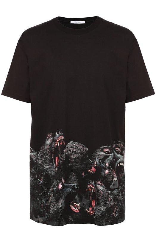 Хлопковая футболка с принтом Givenchy 16F/7307/651