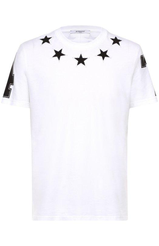 Хлопковая футболка с контрастными нашивками Givenchy 16F/7221/651