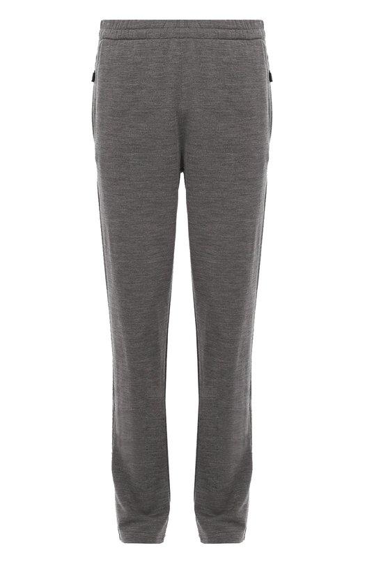 Шерстяные брюки прямого кроя с поясом на резинке Z ZegnaБрюки<br><br><br>Российский размер RU: 50<br>Пол: Мужской<br>Возраст: Взрослый<br>Размер производителя vendor: L<br>Материал: Шерсть: 100%;<br>Цвет: Серый