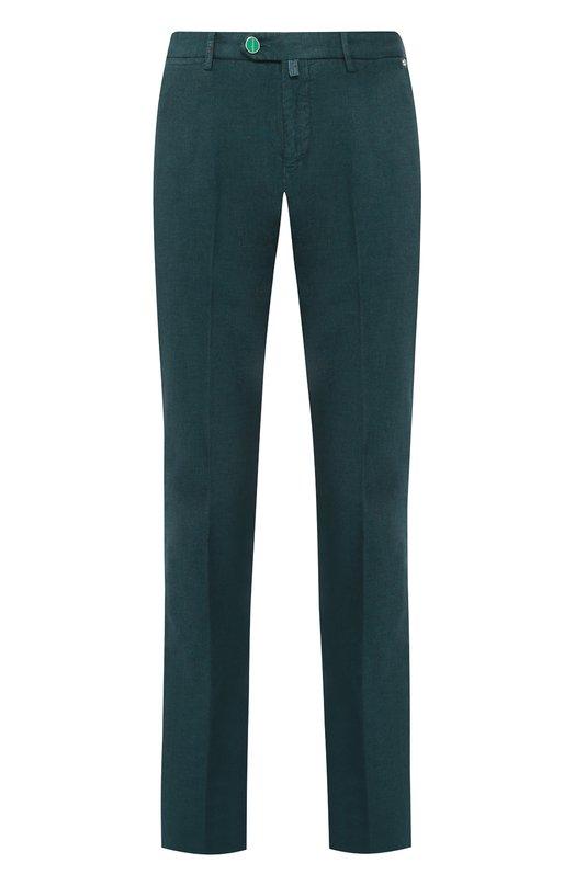 Хлопковые брюки прямого кроя KitonБрюки<br>Зеленые брюки из коллекции сезона осень-зима 2016 года дополнены четырьмя врезными карманами. Прямые слаксы с классической посадкой и стрелками сшиты из плотного гладкого хлопка. Пуговица и шлевка украшены логотипом марки.<br><br>Российский размер RU: 48<br>Пол: Мужской<br>Возраст: Взрослый<br>Размер производителя vendor: 32<br>Материал: Хлопок: 100%;<br>Цвет: Зеленый
