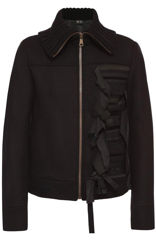 Шерстяной бомбер на молнии с декоративной отделкой No. 21Куртки<br>Черная куртка из плотной гладкой шерсти, с широким вязаным воротником, вошла в коллекцию сезона осень-зима 2016 года. Модель, застегивающаяся на молнию, украшена спереди аппликацией из узких лент. Манжеты длинных рукавов дополнены потайными кнопками.<br><br>Российский размер RU: 48<br>Пол: Мужской<br>Возраст: Взрослый<br>Размер производителя vendor: 46<br>Материал: Шерсть: 80%; Полиамид: 20%; Подкладка-вискоза: 100%; Отделка-шерсть овечья: 100%;<br>Цвет: Черный