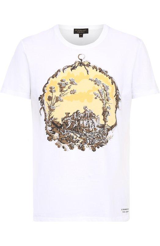 Хлопковая футболка с принтом Burberry 4046158