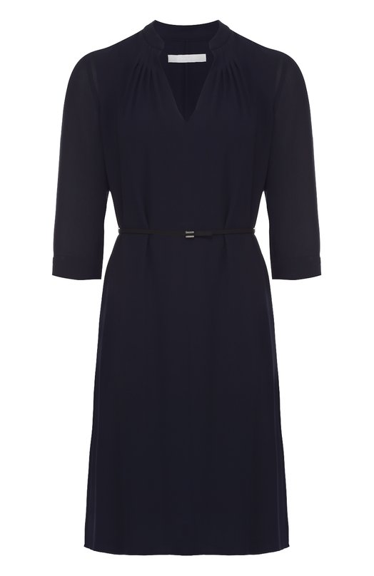 Мини-платье с укороченным рукавом и поясом HUGOПлатья<br><br><br>Российский размер RU: 46<br>Пол: Женский<br>Возраст: Взрослый<br>Размер производителя vendor: 38<br>Материал: Полиэстер: 100%;<br>Цвет: Темно-синий