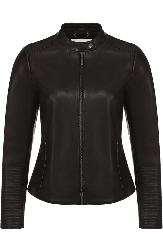 Приталенная кожаная куртка с воротником-стойкой HUGOКуртки<br><br><br>Российский размер RU: 46<br>Пол: Женский<br>Возраст: Взрослый<br>Размер производителя vendor: 38<br>Материал: Кожа: 100%;<br>Цвет: Черный