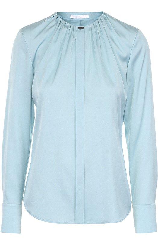 Шелковая блуза с круглым вырезом и защипами HUGO 50318755