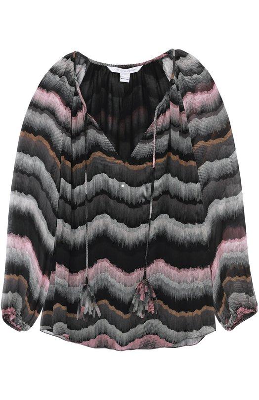 Шелковая блуза на кулиске с контрастным принтом Diane Von Furstenberg S950601G16