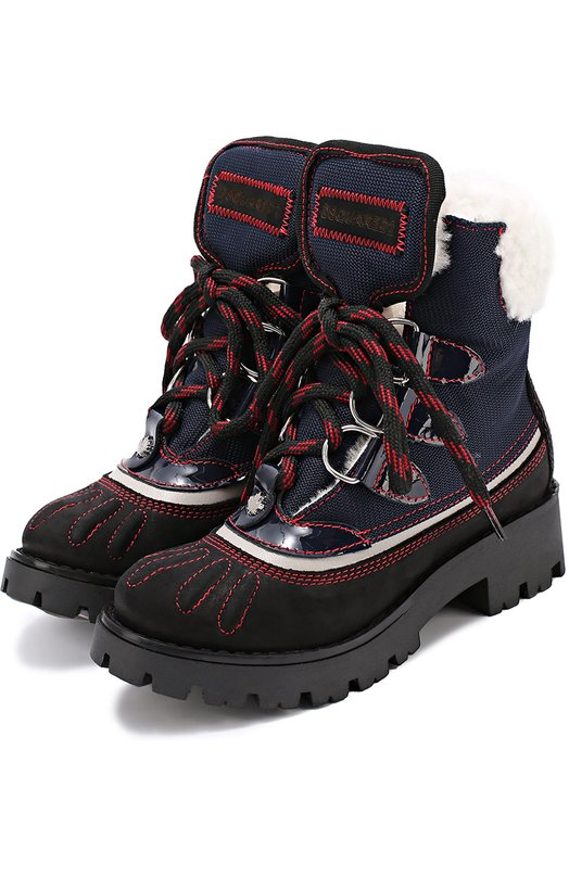 Комбинированные ботинки с внутренней отделкой из меха Dsquared2 45412/28-35