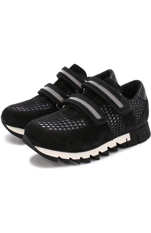 Комбинированные кроссовки с перфорацией Dolce &amp; GabbanaСпортивная обувь<br><br><br>Российский размер RU: 34<br>Пол: Мужской<br>Возраст: Детский<br>Размер производителя vendor: 34<br>Материал: Стелька-кожа: 100%; Подошва-резина: 100%; Замша натуральная: 100%; Отделка-текстиль: 100%;<br>Цвет: Черно-белый