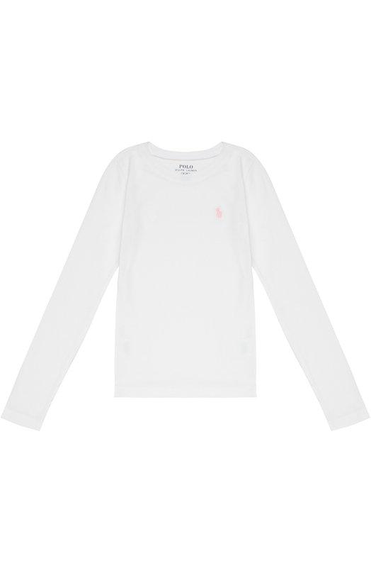 Хлопковый лонгслив с логотипом бренда Polo Ralph LaurenФутболки<br><br><br>Размер Years: 10<br>Пол: Женский<br>Возраст: Детский<br>Размер производителя vendor: 138-148cm<br>Материал: Хлопок: 52%; Модал: 48%;<br>Цвет: Белый