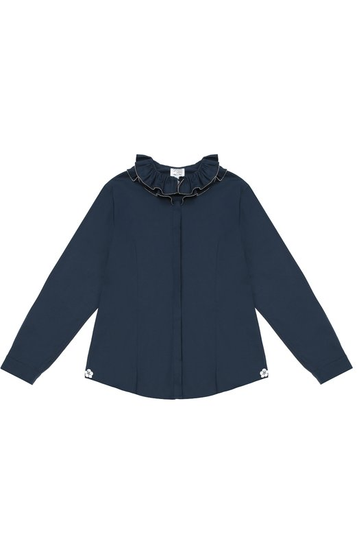 Хлопковая блуза с декором AlettaБлузы<br><br><br>Размер Years: 10<br>Пол: Женский<br>Возраст: Детский<br>Размер производителя vendor: 138-148cm<br>Материал: Хлопок: 95%; Эластан: 5%;<br>Цвет: Синий