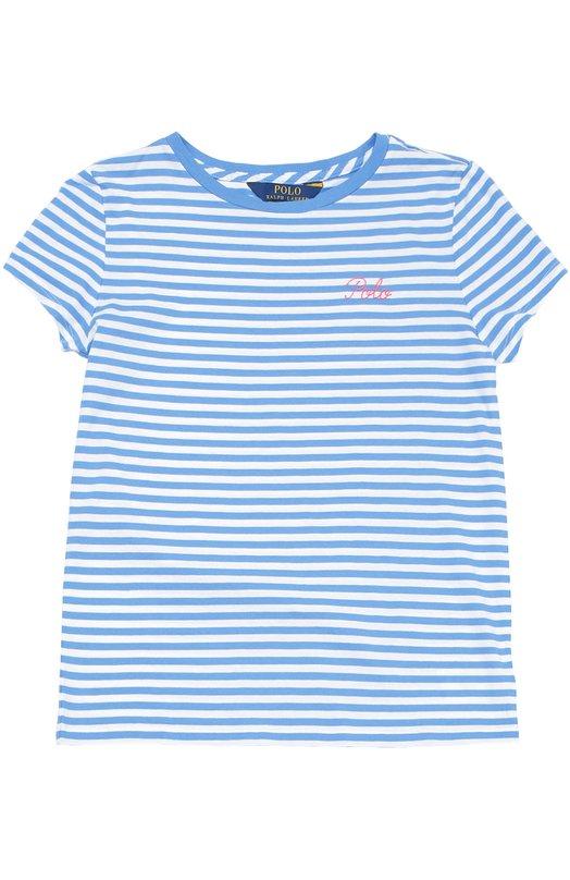 Футболка джерси в полоску Polo Ralph LaurenФутболки<br><br><br>Размер Years: 10<br>Пол: Женский<br>Возраст: Детский<br>Размер производителя vendor: 138-148cm<br>Материал: Хлопок: 100%;<br>Цвет: Голубой