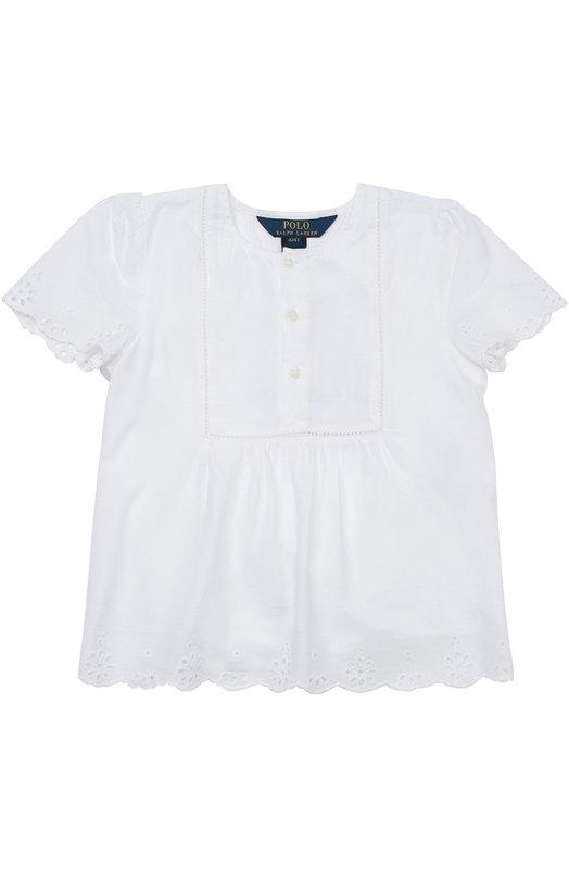 Топ с кружевной отделкой Polo Ralph LaurenТопы<br><br><br>Размер Years: 3<br>Пол: Женский<br>Возраст: Детский<br>Размер производителя vendor: 98-104cm<br>Материал: Хлопок: 100%; Подкладка-хлопок: 100%;<br>Цвет: Белый