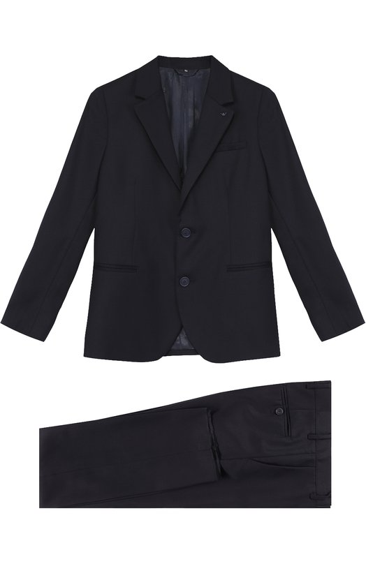 Купить Шерстяной костюм с пиджаком на двух пуговицах Armani Junior, 8N4V01/4N05Z/11A-16A, Румыния, Синий, Подкладка-ацетат: 59%; Подкладка-вискоза: 41%; Шерсть: 100%;