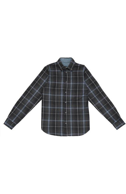 Хлопковая рубашка в клетку с воротником кент Dal LagoРубашки<br><br><br>Размер Years: 10<br>Пол: Мужской<br>Возраст: Детский<br>Размер производителя vendor: 138-148cm<br>Материал: Хлопок: 100%;<br>Цвет: Темно-серый