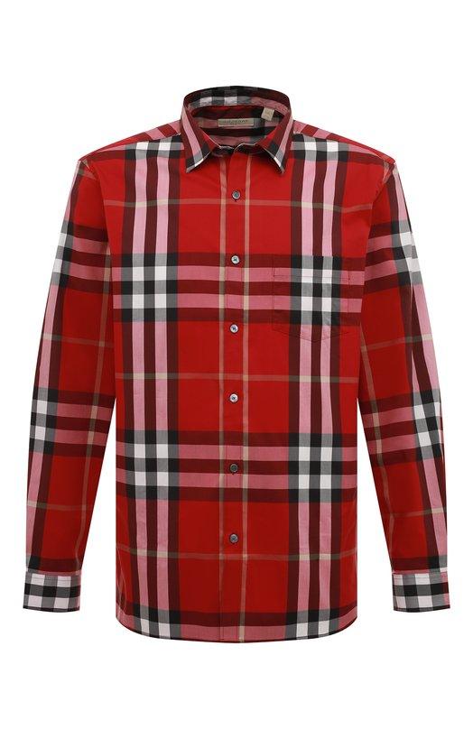 Рубашка из эластичного хлопка с воротником кент Burberry 4554711
