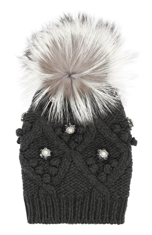 Кашемировая шапка с меховым помпоном и стразами Dolce & Gabbana 0136/FPH03K/F69C5