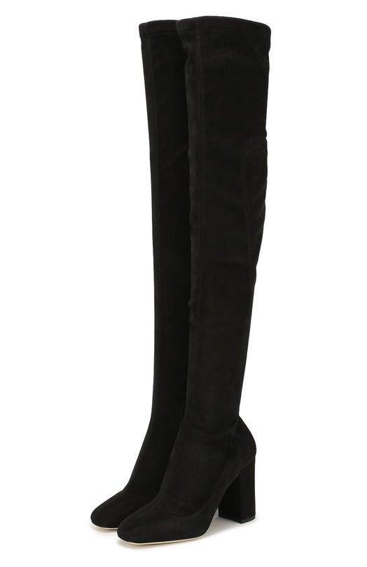 Купить Замшевые ботфорты Jackie на устойчивом каблуке Dolce & Gabbana, 0112/CU0303/AC700, Италия, Черный, Стелька-кожа: 100%; Подошва-кожа: 100%; Замша натуральная: 100%;