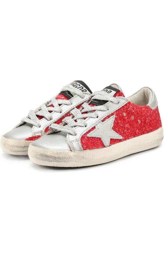 Кеды с аппликацией и глиттером Golden GooseСпортивная обувь<br><br><br>Российский размер RU: 28<br>Пол: Женский<br>Возраст: Детский<br>Размер производителя vendor: 28<br>Материал: Текстиль: 70%; Кожа натуральная: 30%; Стелька-кожа: 100%; Подошва-резина: 100%;<br>Цвет: Красный