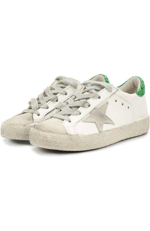 Кожаные кеды с аппликацией и глиттером на заднике Golden GooseСпортивная обувь<br><br><br>Российский размер RU: 31<br>Пол: Женский<br>Возраст: Детский<br>Размер производителя vendor: 31<br>Материал: Кожа натуральная: 97%; Полиуретан: 3%; Отделка замша натуральная: 100%; Стелька-кожа: 100%; Подошва-резина: 100%;<br>Цвет: Белый