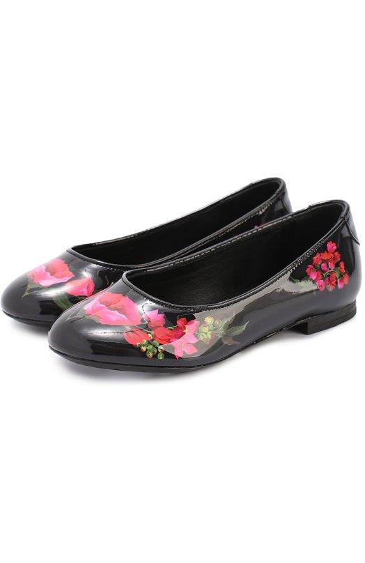 Лаковые туфли с цветочным принтом Dolce & Gabbana 0132/D10511/AB571/29-36