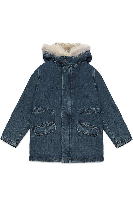 Куртка из денима с внутренней отделкой из меха Yves Salomon Enfant 7WEM015XXDE1W/8-10
