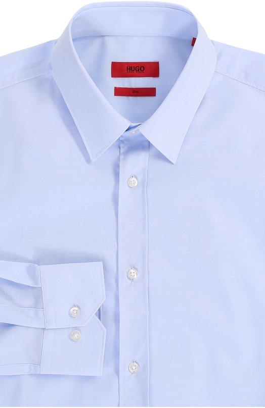 Хлопковая приталенная сорочка с воротником кент HUGOРубашки<br><br><br>Российский размер RU: 39<br>Пол: Мужской<br>Возраст: Взрослый<br>Размер производителя vendor: 39<br>Материал: Хлопков: 100%;<br>Цвет: Голубой